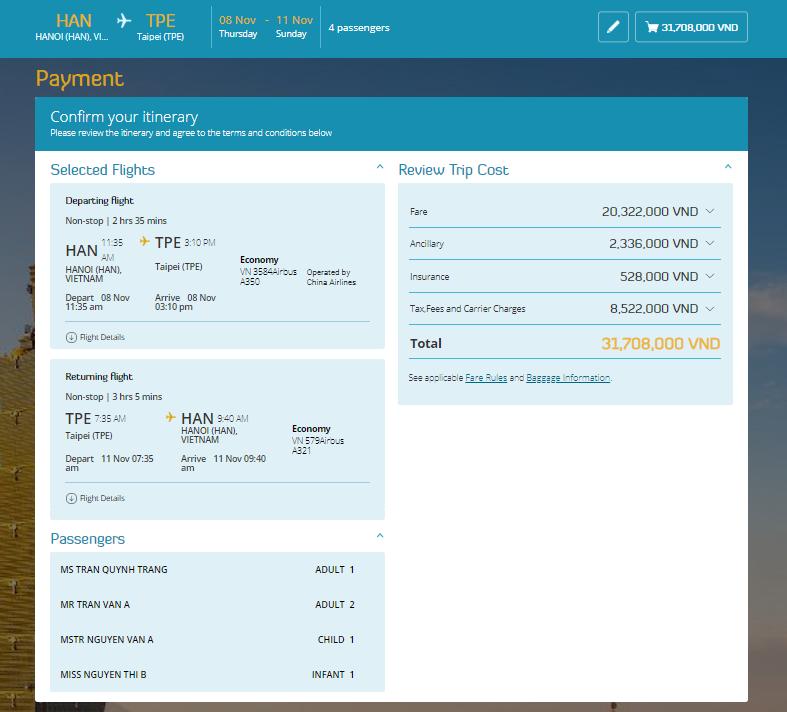 Chi tiết booking - Cách đặt vé máy bay thanh toán sau