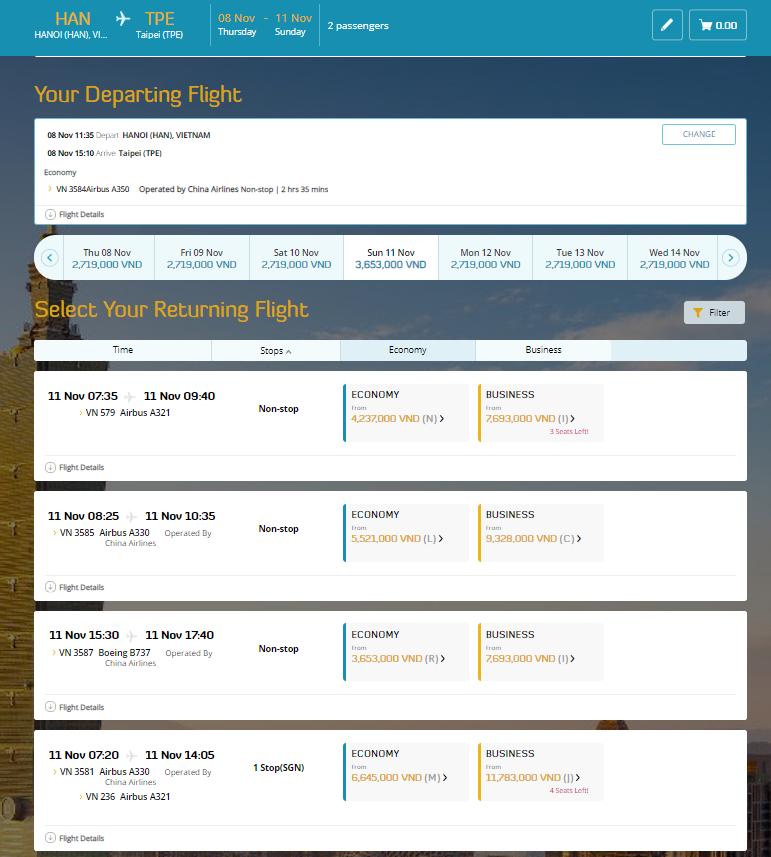Danh sách chuyến về - Cách đặt vé máy bay thanh toán sau