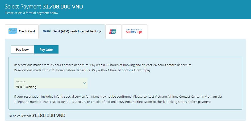 Hình thức thanh toán - Cách đặt vé máy bay thanh toán sau