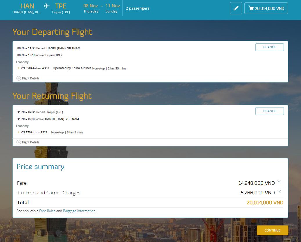 Price summary - Cách đặt vé máy bay thanh toán sau